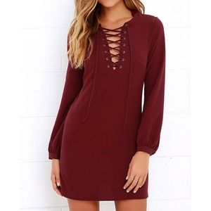 Lulu's Up Up and Away Burgundy Lace Up Dress